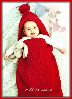 PDF Knitting Pattern for a Babies Cabled Sleeping Bag or