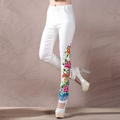 JMJNT-V Black And White Trousers Spring Autumn Women New Large Size Casual Embroidery Flowers Skinny Elastic Waist Long Pant White Trousers, Slim Fit Trousers, Trousers Women, Pants For Women, Clothes For Women, Jeans Women, Cotton Leggings, Leggings Are Not Pants, Jeans Pants