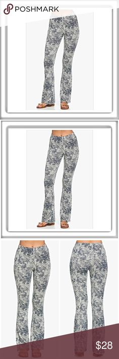 🆕Paisley Bell Bottoms Ivory with navy Paisley print bell bottom knit pants. Fitted through the hips then a loose taper to a bell bottom. 60%polyester 35%Rayon 5% spandex. Women's sizing S M & L Angelique's Atelier Pants