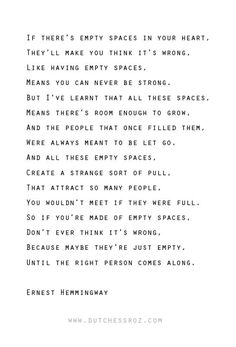 charming life pattern: ernest hemmingway - quote - empty spaces ...