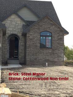 Brick Siding, Stone Siding, Exterior Siding, Exterior Colors, Stone Exterior Houses, Stone Houses, Masonry Construction, New Construction, Manor Stone