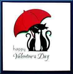 Happy Valentine's Day card topper with Die cut shapes of French Cats & Umbrella