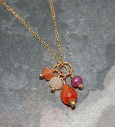 Beautiful carnelian teardrop charm on 14k gold fill - Add a Charm
