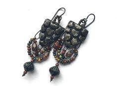 Hippie Gypsy Jewelry, Lightweight Boho Earrings, Ceramic Jewelry, Boho Chic Hippie Jewelry, Earthy Bohemian Jewelry, Niobium Earrings