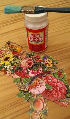 Table Top Transformation....napkin Decoupage   with Mod Podge  DIY Tutorial
