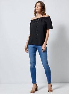 a586172db45 Womens Black Button Through Bardot Top- Black