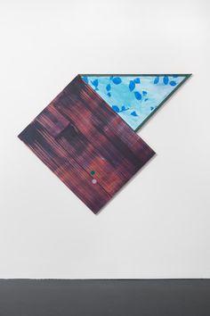 Ana Cardoso - Sender Over Quota I, Diptych, acrylic on cotton canvas, overall: 106.25 x 162.5 cm, canvas 1: 106.25 x 84 cm, canvas 2: 78.5 x 78.5 x 111.5 cm, 2016