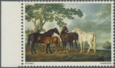 """Great Britain, Michel SG 749 a - 1967, 9 d. British Paintings (""""Mares and Foals in a Landscape"""" by George Stubbs), marginal copy showing variety """"Black (Queen's head and value) omitted"""", unmounted mint. SG 1.100,- £.  Lot condition **  Dealer Gärtner Christoph Auktionshaus  Auction Starting Price: 500.00 EUR"""