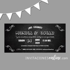 Invitación de Boda pizarra #invitacionesdeboda  #invitacionesonline #bodas #casament #wedding #noscasamos #papelypapel
