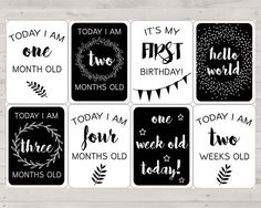 Printable baby milestone cards, boho baby milestone cards, black and white baby milestone cards, b/w baby monthly cards, classic baby cards