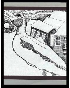 Duck in Winter - Pen Drawing: geese, birds, moon, night, houses, skies, snow