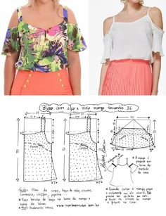 Best 12 DIY – molde, corte e costura – Marlene Mukai. Blusa com alça e meia manga. Blusa com alça e meia manga Dress Sewing Patterns, Blouse Patterns, Clothing Patterns, Blouse Designs, Make Your Own Clothes, Diy Clothes, Diy Fashion, Ideias Fashion, Moda Fashion