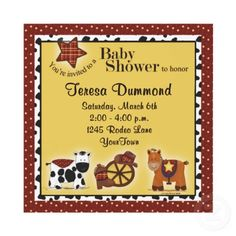 Cowboy or Cowgirl Baby Shower Invitation from http://www.zazzle.com/cowboy+invitations