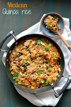 Mexican Brown rice and Quinoa skillet - Easy vegan one pot meal – The Veggie Indian