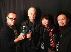 Jimmy Page and photographer Ross Halfin (left) with friends at the Classic Rock Awards last night in Tokyo Nov. 11, 2016