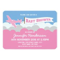 BABY SHOWER PLANE CLOUDS INVITATION | PINK GIRL #PERSONALIZED #BABY #SHOWER #INVITATIONS #MODERN #GIRL #PINK #AIRPLANE