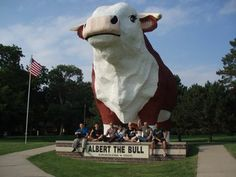 Albert the Bull in Audubon is the World's Largest Bull. Albert was constructed in 1964 and weighs 45 tons, stands 30 feet tall, and spans 15 feet from horn to horn.