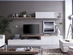 Rimobel Contemporary Wall Storage System Various Colour Finishes - Contemporary wall storage system with wall cabinet with display section, tv shelf and low cabinet