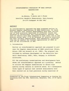 Positioning with GPS-1985 : proceedings : First...