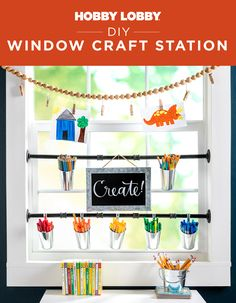 Utilize every space in your home and turn your window into a handy craft station with this DIY! Home Decor Styles, Cheap Home Decor, Diy Home Decor, Beach House Decor, Interior Color Schemes, Interior House Colors, Bedroom Plants Decor, Window Rods, Craft Station