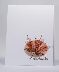 Stamps: Maple Leaf, …Wishes (Penny Black)  Inks:  Memento Rich Cocoa, Rhubarb Stalk, Morocco (Tsukineko)