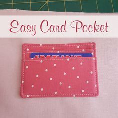 Easy Card Pocket for Bag Making - - Every clutch, pouch or purse is even better with a few pockets and i want to show you a super easy card pocket! I've been working on a new pouch pattern Diy Wallet Pattern, Coin Purse Pattern, Pocket Pattern, Tote Pattern, Purse Patterns Free, Bag Patterns To Sew, Sewing Patterns, Handbag Patterns, Sewing Tutorials