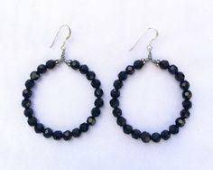 A personal favorite from my Etsy shop https://www.etsy.com/listing/466841221/black-crystal-hoop-earrings