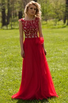 fall red lace bodice tulle skirt long prom dress with bow