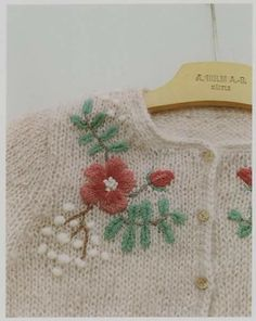 Knitting: Ravelry: KeikoRavelry's モヘアのカーディガン/My first Cardigan Embroidery On Clothes, Wool Embroidery, Hand Embroidery Stitches, Embroidery Patterns, Knitting Patterns, Sweater Embroidery, Knitting For Kids, Knitting Projects, Baby Knitting