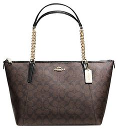 f69b480eb8b5 Coach F37079 Signature Brown Black Tote in Brown/Black Coach Tote, Coach  Bags,