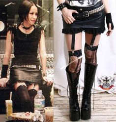 RTBU Punk NANA Leather HIPSTER Mini Skirt+Garter+Shorts