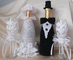 Бокалы + жених с невестой