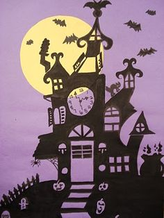 Haunted house silhouette paintings.