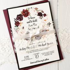 These beautiful marsala floral invitation is perfect for your fall wedding. Beautiful colors and modern fonts make it the perfect modern, elegant invitation. Th