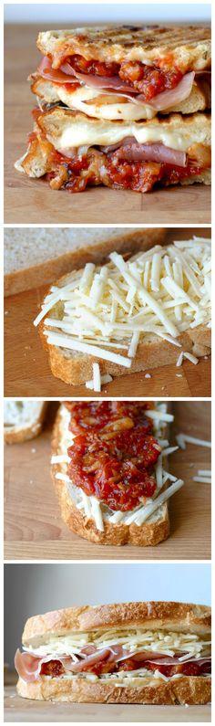 Gruyere, Serrano Jamon, Candied Garlic and Tomato Chutney Grilled Cheese Sandwich #recipe #grilledcheese