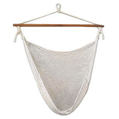 """Hand-woven cotton hammock with a solid wood bar and rope hanger. Crafted by Maya Artists of the Yucatan in Mexico.  Product: Hammock chairConstruction Material: Steel, wood and cottonColor: Natural ivoryFeatures:  Hand-woven300 lb Weight capacity Dimensions: 39.6"""" W x 39"""" D"""