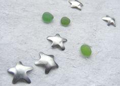 Green Christmas sea glass stars