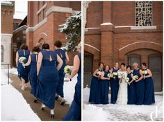 Despite the freezing cold temperatures, this Iowa couple pulled off a gorgeous snowy, winter wedding. See more now! Dress by Maggie Sottero.