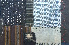 Indigo mix Boro style table mat with Japanese by stitchedIndigo