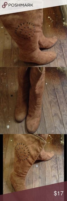 """Brown wedge boots Bakers, size 11M Beautiful detailing on sides of these brown boots adding to its rustic look, heel height 3.5"""" Bakers Shoes Heeled Boots"""
