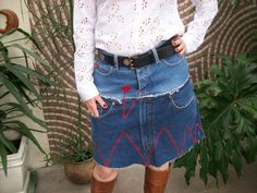 Upcycled Clothing Double Denim Skirt Embroidered Denim от SewLoca