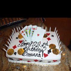 Poker party birthday cake
