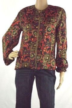 Maggy London 100% Silk Blouse Button Front Multi Color Floral  Long Sleeve Sz 4 #MaggyLondon #Blouse #Career