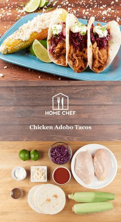 Chicken Adobo Tacos with Mexican street corn Chef Recipes, Mexican Food Recipes, Cooking Recipes, Healthy Recipes, Healthy Habits, Yummy Recipes, Recipies, Chipotle, Enchiladas