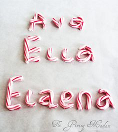 Candy Cane Name - put on card stock for name cards for dinner table