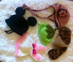 Gorrinhos em crochê newborn