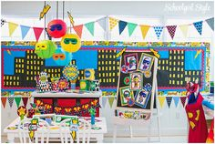 School Girl Style's Super Hero theme classroom!  For when Tim has a classroom!