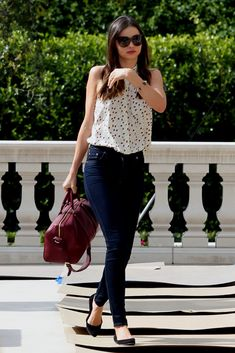 Denim-Addiction. white tank. dark skinnies. flats. Miranda Kerr.