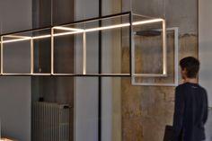 Viabizzuno lighting | Milano through www.archetypelighting.com Cool Lighting, Modern Lighting, Chandelier Lighting, Lighting Design, Hanging Light Fixtures, Hanging Lights, Ceiling Lamp, Ceiling Lights, Wall Lamps