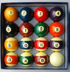 Belgian Aramith billiard set of vintage pool balls confetti speckled cue ball #Aramith